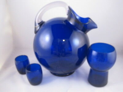 Cobalt Blue Pitcher, Glass, and two shot glasses