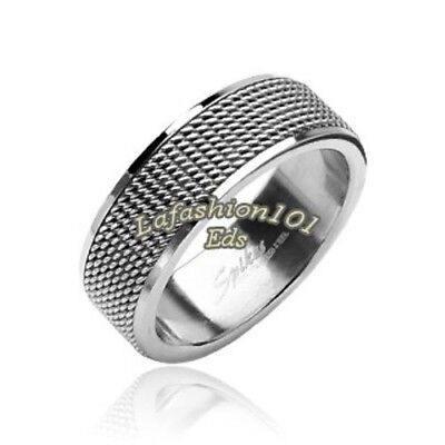 316L Stainless Steel Mesh Screen Mens/Womens Wedding Band Ring SZ 5-13