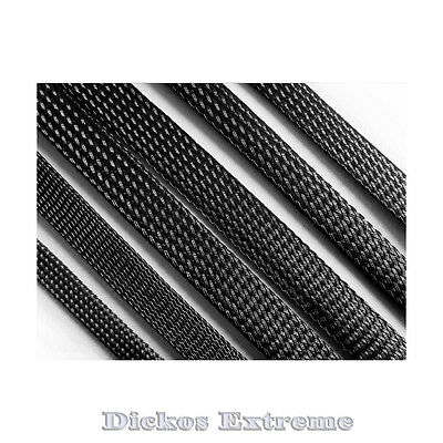 6mm BLACK PET Expandable Braided Cable Sleeving - Per Meter.