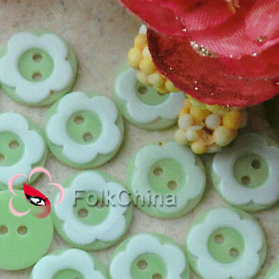 Green 2 Holes 12mm Flower Plastic Buttons Sewing Craft Scrapbooking PCB-A03