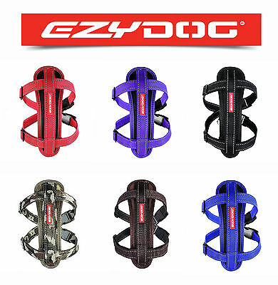 EZYDOG Chest Plate Reflective Dog Harness + Seatbelt Clip - All Colours/Sizes