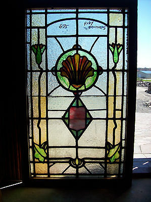 Rudy Bros stained glass window Fan Center design (Sg 1216)