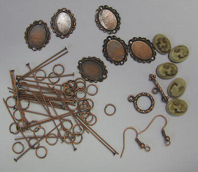 Cameo & Pearl Bracelet & Earring Kit Latte, Instructions,Beads & Findings TAR119