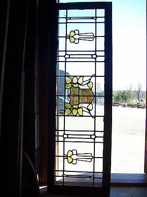 Arts & crafts leaves w crest in center stained glass transom window (SG 1226)