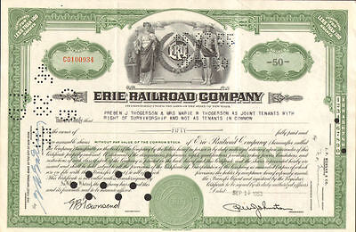 Erie Railroad Company > green New York stock certificate share
