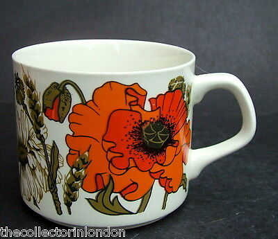 Vintage 1960's J & G Meakin Iconic Poppy Poppies Pattern Tea Cups Only in VGC