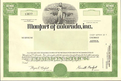 Monfort of Colorado   beef cattle stock certificate share