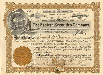 The Eastern Securities Company > Washington D.C. mining stock certificate share
