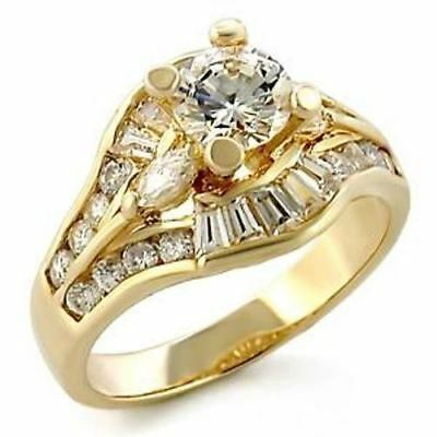 2.65ct Clear CZ Gold Plated Womens Bridal / Wedding / Engagement Ring