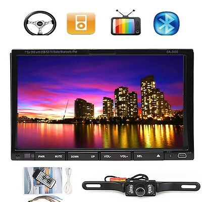 "7"" 2 Din In Dash Car Stereo DVD Player With TV Radio Tuner Bluetooth+Back CAMERA"