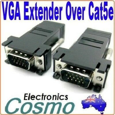 2 x VGA Extender Extention over 66FT 30M CAT5/CAT6/RJ45 Cable Adapter Connector