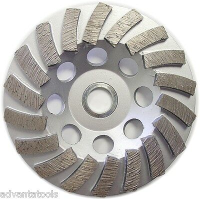 "5"" Premium Turbo Diamond Cup Wheel for Concrete 18Seg 7/8""-5/8"" Arbor 30/40 Grit"