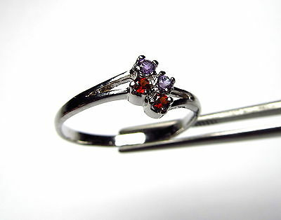 Beautiful Petite Amethyst and Garnet Four Stone Sterling Silver Ring