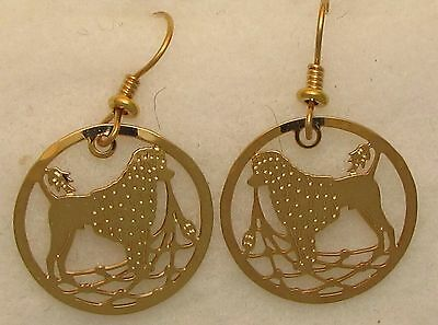 Portuguese Water Dog Jewelry Lion Clip Gold Dangle Earrings