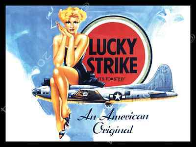 Lucky Strike Metal Sign, Vintage Pinup Girl, US Air Force, Military, Airplanes
