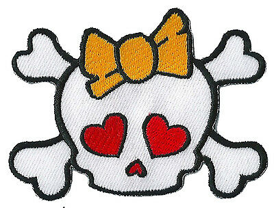 Badge écusson patche lady skull monster patch brodé thermocollant