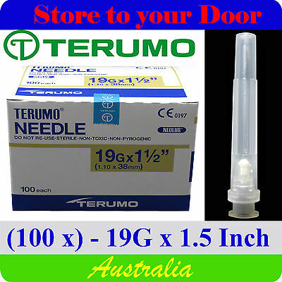 (100) 19G x 1.5 Inch Terumo Needles / Medical Hypodermic Syringe Tips - Sharps