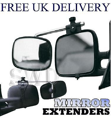 Pair Clip on Adjustable Tow Wing Mirror Extenders Car Van Towing Trailer Caravan