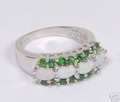 Rhodium / Sterling Chrome Diopside & Opal Ring Sz7 CDR1