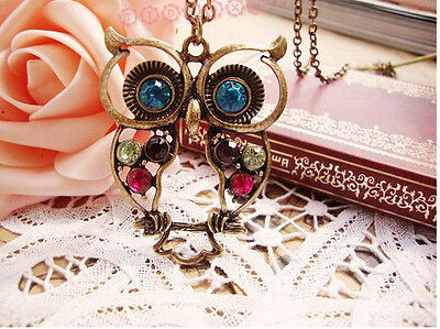 1 FASHION Bronze Colorful Crystal Cute Owl Vintage Pendant Chain Necklace GIFT