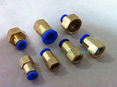 "5pcs 6mm to 1/4"" Pneumatic Connectors Female straight one-touch fittings BSPT"