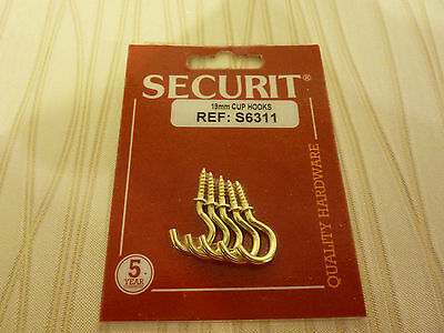Securit Cup Hooks Brass Plated  (5)