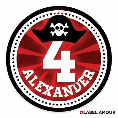 PERSONALISED Pirate Birthday Party Sticker Seals Labels | 4 Sizes - 010
