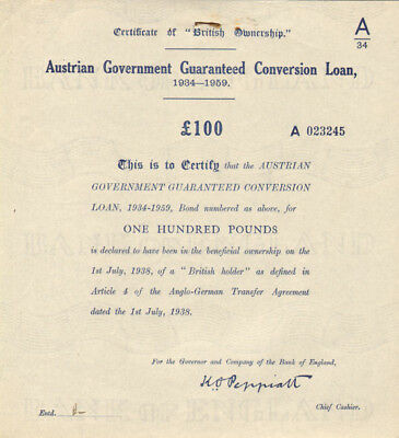 Austrian Government Guaranteed Conversion Loan > 1938 Austria bond certificate