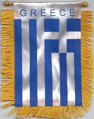 Greece Greek Flag Hanging Car Pennant for Car Window or Rearview Mirror