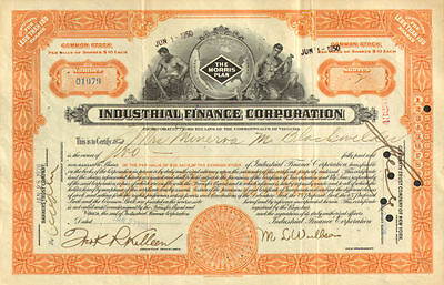 Industrial Finance Corporation > The Morris Plan > 1928 stock certificate share