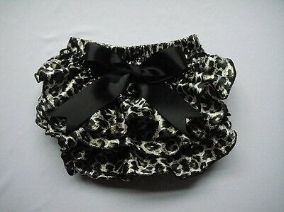 Baby Girl Satin Frilly Leopard Print Knickers/pants/bloomers 0-18 Months