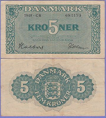 "Denmark 5 Kroner 1948 Choice Very Fine Condition Cat#35-E-173 ""Not Seen Often"""