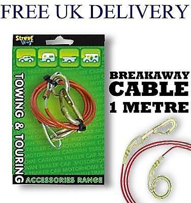 1M Plastic Steel Breakaway Cable Towing Camping Caravan Trailer Break Away Brake