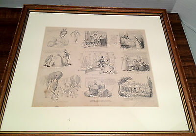 "David Claypoole Johnston ""Scraps"" Comic Etching, Matted And Framed - 1835"
