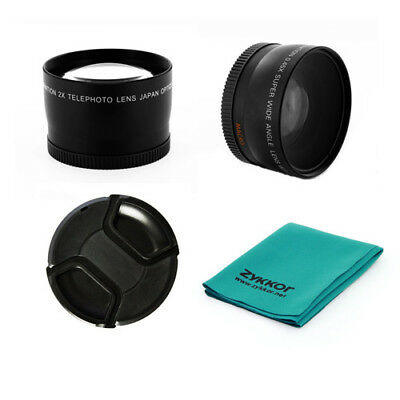 0.45x wide angle + 2x tele photo + CAP + CLOTH for Canon EOS 58mm EF-S 18-55mm