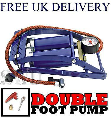 Double Barrel Air Cylinder Foot Pump Car Bike Motorcycle Van Tyre Inflator Gauge