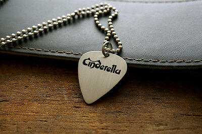 Hand Made Etched Nickel Silver Guitar Pick Necklace - Cinderella Band
