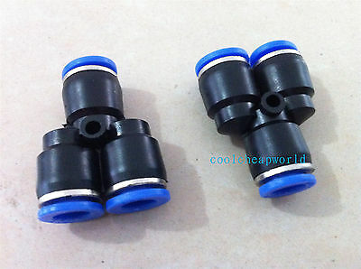 10pcs 6mm Push In Equal Y Pneumatic Jointer Connector