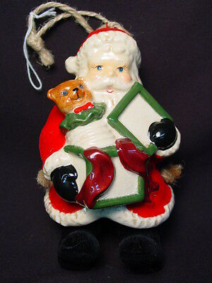Vtg Santa Claus Ceramic Xmas Ornament Doll Figurine Jack In The Box Toy Gift Old