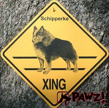 SCHIPPERKE Dog Crossing XING Yellow Road SIGN New