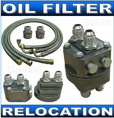 Oil Filter Relocation Kit - Oil Cooler Connection Kit + Braided Steel Oil Lines