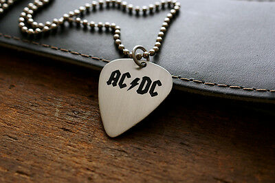 Hand Made Etched Nickel Silver Guitar Pick Necklace with AC/DC