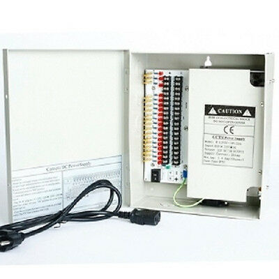 18Ch 12V 20 Amp DC Distribute Power Supply Box for Security Camera CCTV System