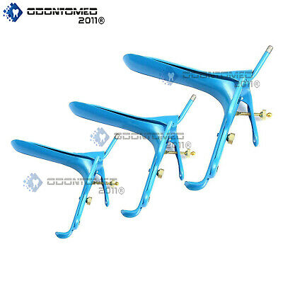 Lot Of 3 Pieces Blue Coated Lletz Leep Graves Speculum Small,medium,large