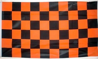 CHECKERED FLAG 5X3 BLACK & AND TANGERINE orange Chequered flags SPORT RACING