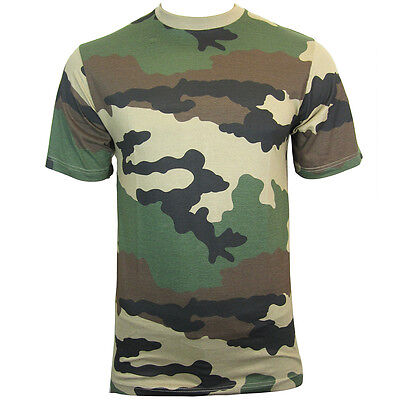 FRENCH Army CCE Camo Pattern T-Shirt - ALL SIZES Cotton Camouflage Military Top