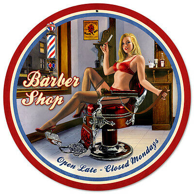 SHAVE AND HAIRCUT Pinup Hildebrandt GIANT ROUND Vintage Metal Sign & FREE PRINT