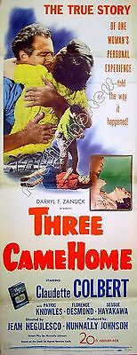 THREE CAME HOME 1950 Claudette Colbert Patric Knowles US INSERT POSTER