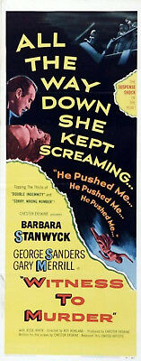 WITNESS TO MURDER 1954 Barbara Stanwyck, George Sanders INSERT POSTER