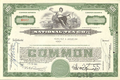 National Tea Company   Illinois stock certificate share